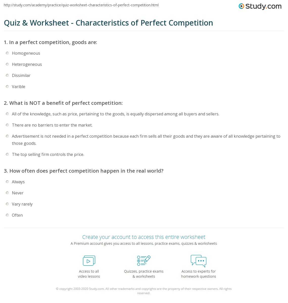 Characteristics of perfect competition pdf