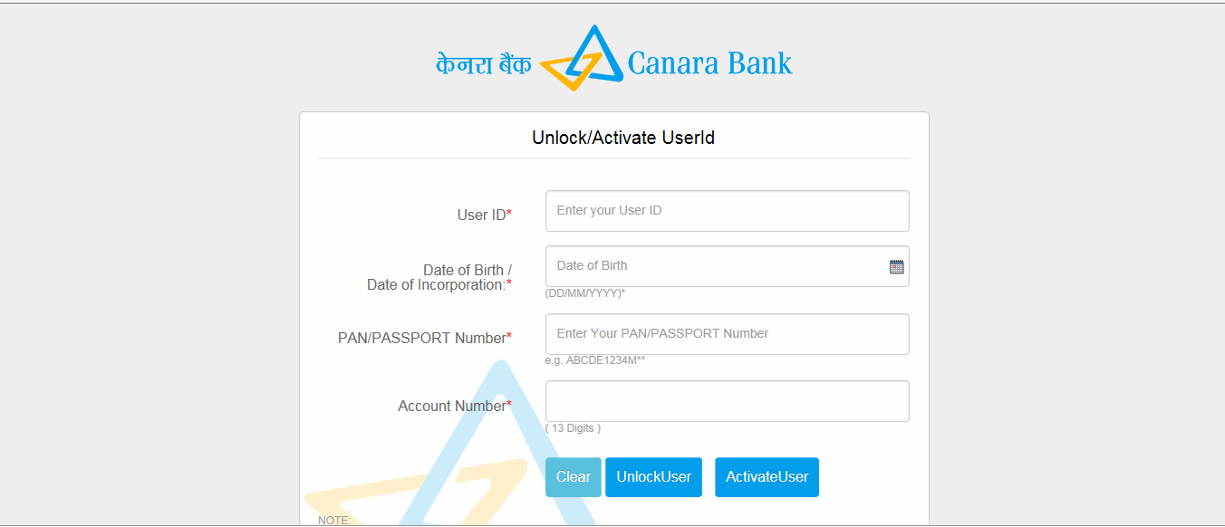 Canara bank net banking application form
