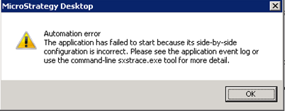 Tq.exe the application failed to start because its side-by-side configuration