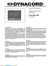 dynacord powermate 600 service manual