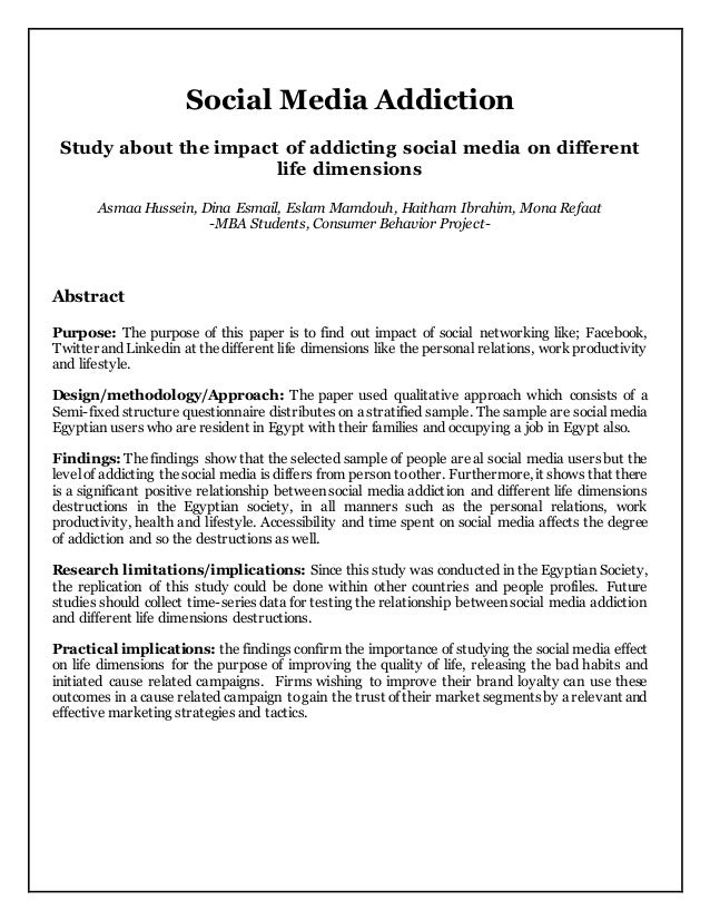 Research about facebook addiction pdf